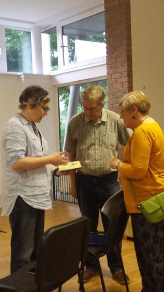 Rachel Mann, Veronica Zundel and Phil Wood at 'Poetry by the Park', the Studio, Prestwich, Bury